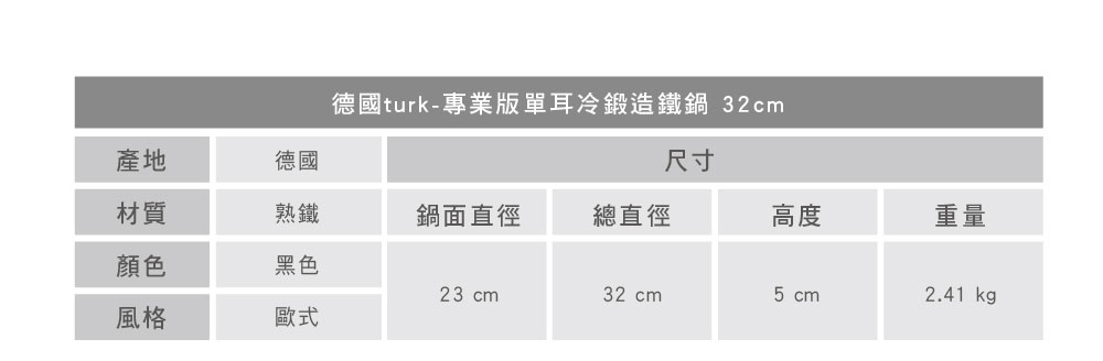 turk 專業版單耳冷鍛造鐵鍋 32cm