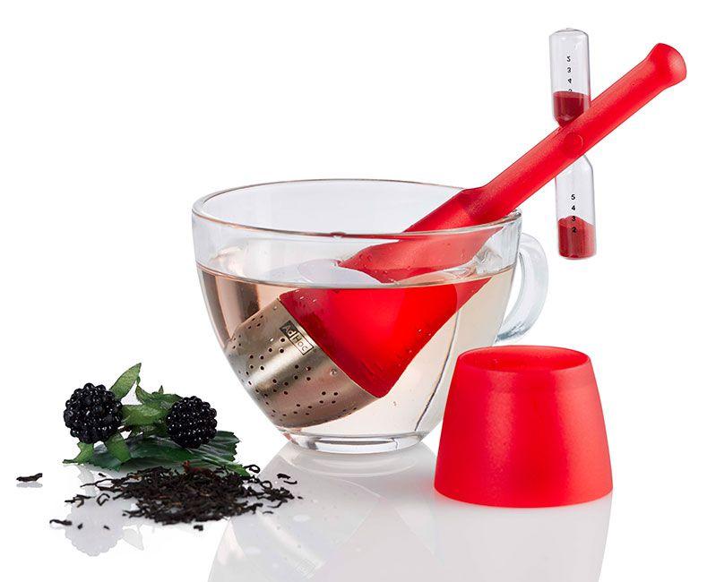 AdHoc 附沙漏果凍色漂浮濾茶器 (紅)