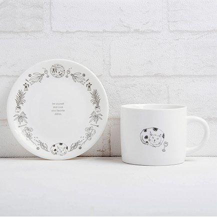 FMT 我的菜 美感家居【單身幸福】午茶杯盤組 - 慵懶貓咪