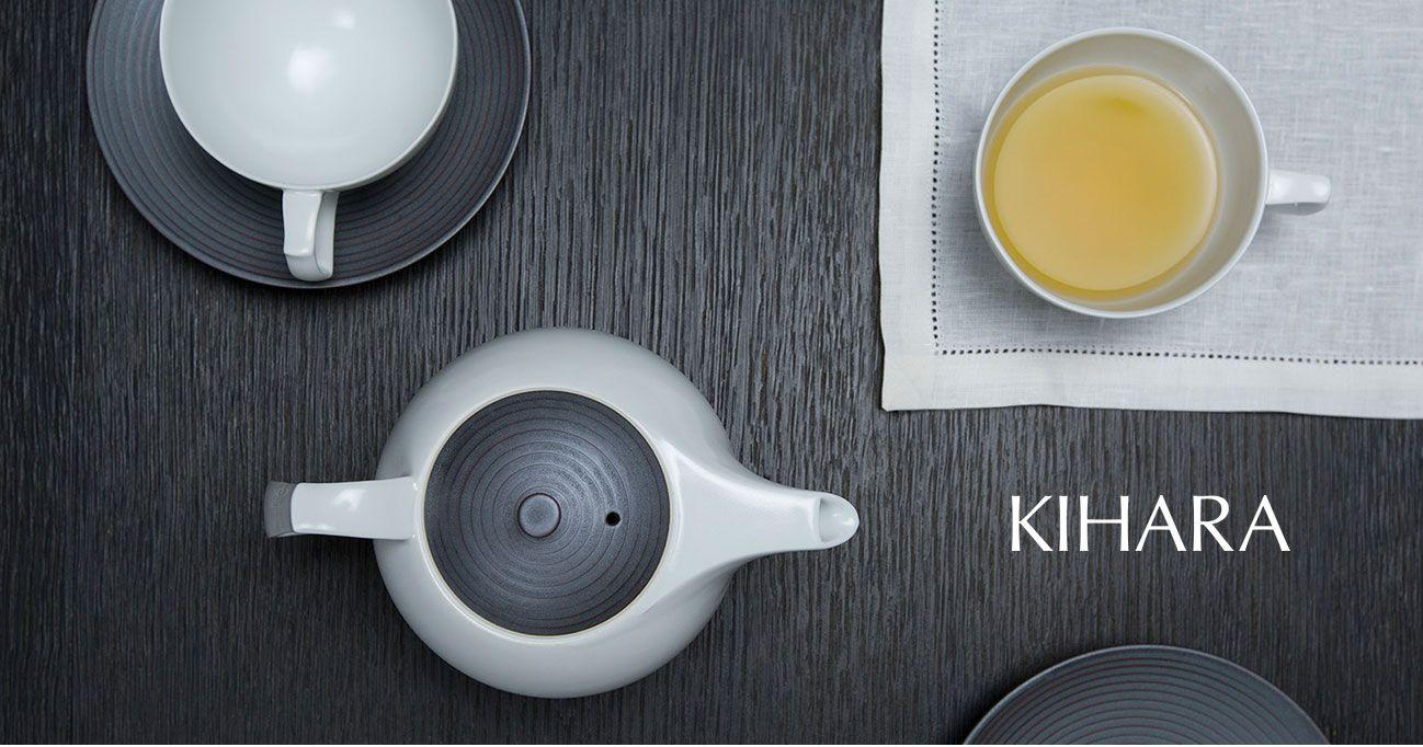 日本 KIHARA 有田燒 瓷器 錆線紋 茶壺 杯盤組