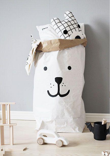 瑞典 TELLKIDDO 可愛圖案牛皮紙收納袋 小熊