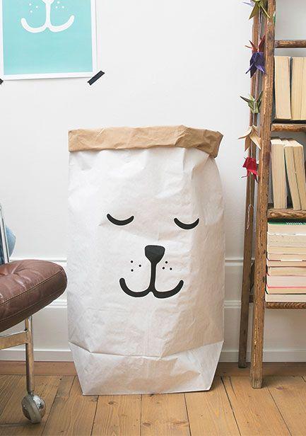 瑞典 TELLKIDDO 可愛圖案牛皮紙收納袋 小熊睡覺