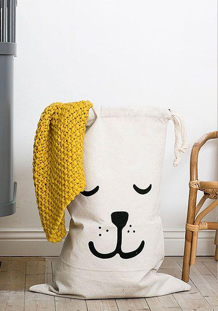 瑞典 TELLKIDDO 可愛圖案100%純棉帆布收納袋 小熊睡覺