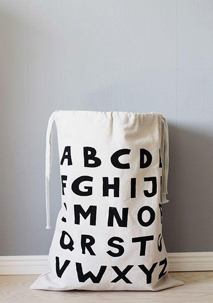 瑞典 TELLKIDDO 可愛圖案100%純棉帆布收納袋 ABC