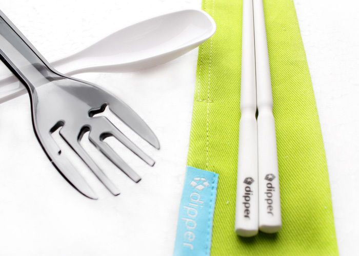 3合1SPS環保餐具筷叉匙組-潑墨黑叉