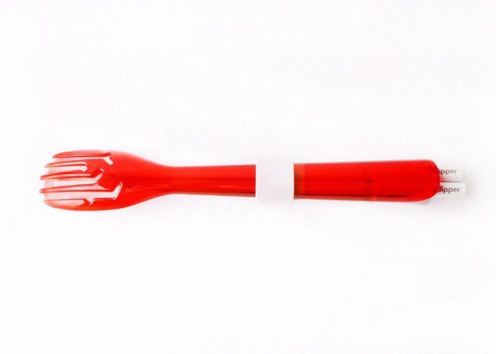 3合1SPS環保餐具筷叉匙組-莓果紅叉