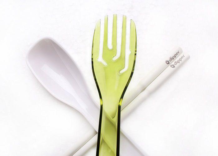 3合1SPS環保餐具筷叉匙組-青嫩綠叉