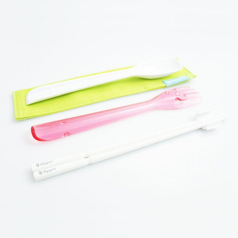 3合1SPS環保餐具筷叉匙組-香檳粉紅叉