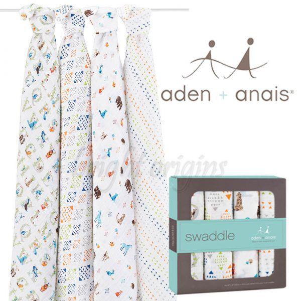Aden+Anais 輕鬆抱寶寶包巾(四入裝) 動物ABC款2057