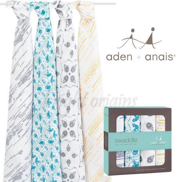 Aden+Anais 輕鬆抱寶寶包巾(四入裝) 澳洲限定版 純美南極R103