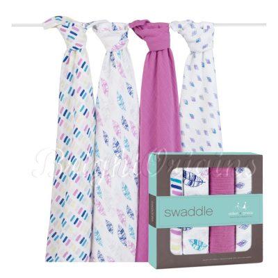 aden+anais 輕鬆抱寶寶包巾 紫色秋天款 (四入裝)