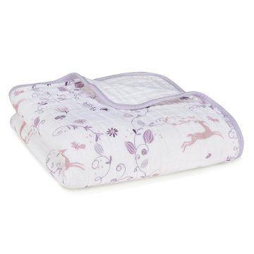 aden+anais 有機棉四層厚毯 粉紫童話款