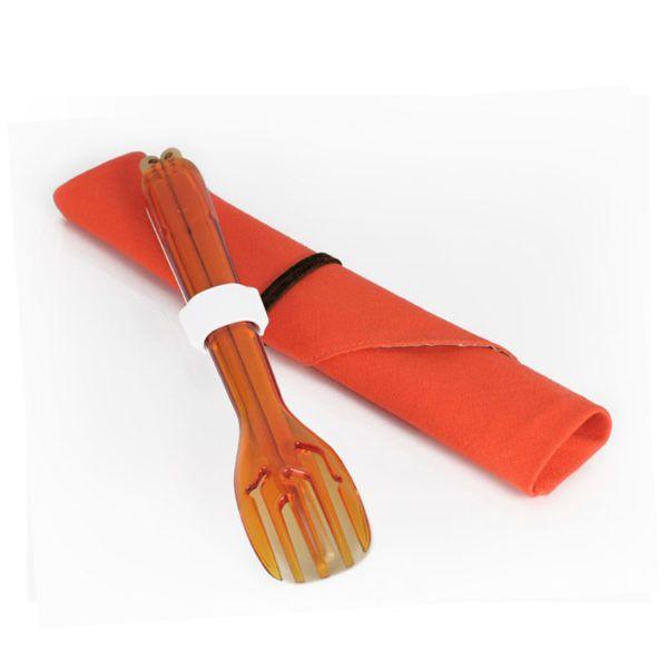 dipper-3合1環保餐具筷叉匙組-甜戀橘叉陶瓷湯匙