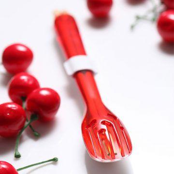 dipper-3合1環保餐具筷叉匙組-莓果紅叉陶瓷湯匙