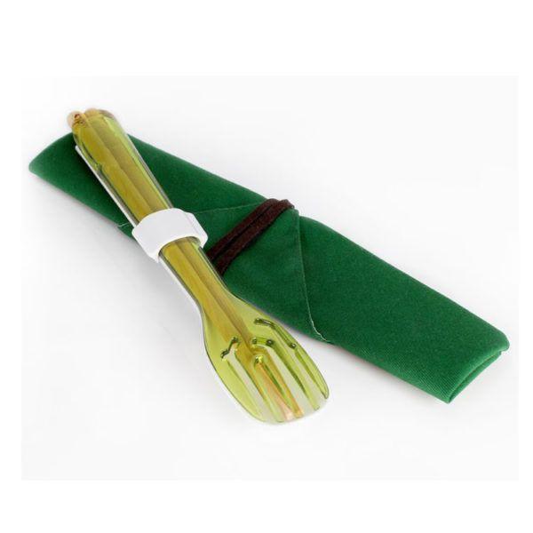 dipper 3合1環保餐具筷叉匙組-青嫩綠叉/陶瓷湯匙