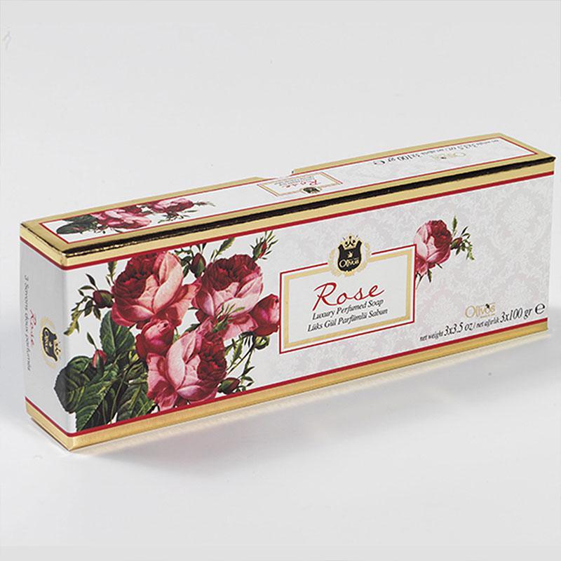 OLIVOS 奧莉芙的橄欖 玫瑰淨膚橄欖皂禮盒 (100g*3入)