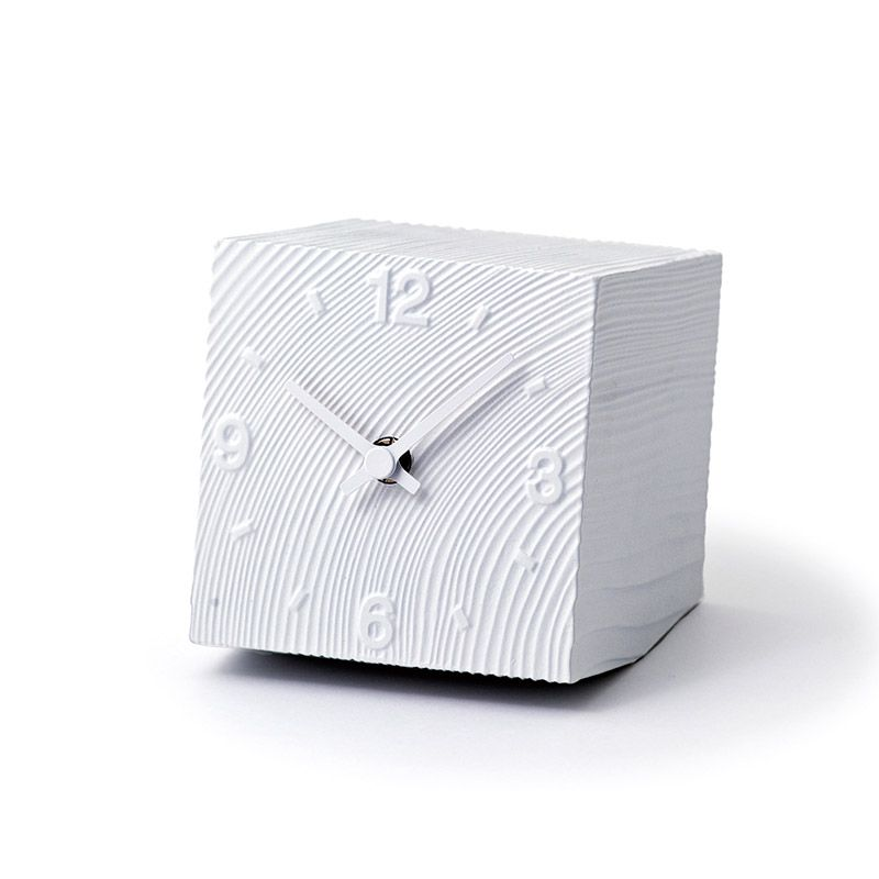日本 Lemnos 方磚小型桌鐘 (白)
