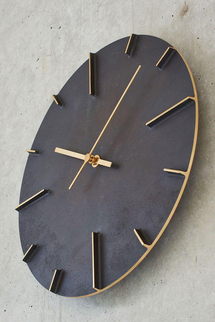 日本 Lemnos 復古銅蝕斑斕大壁鐘 (黑)3