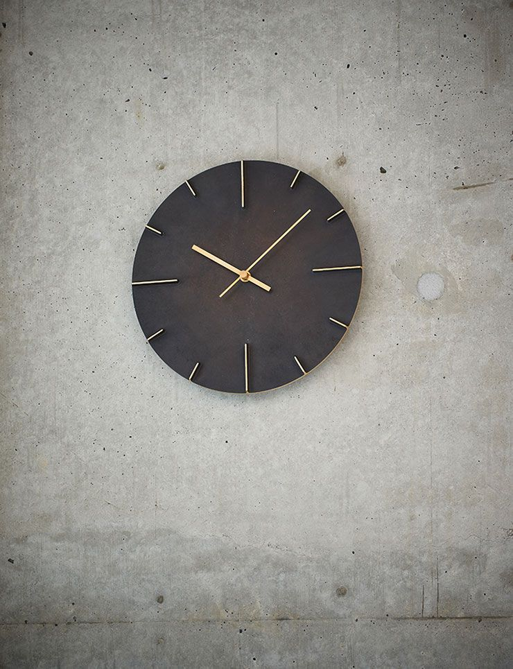 日本 Lemnos 復古銅蝕斑斕大壁鐘 (黑)2