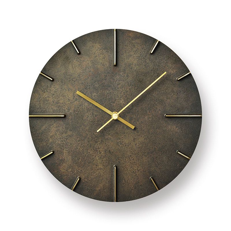 日本 Lemnos 復古銅蝕斑斕大壁鐘 (黑)