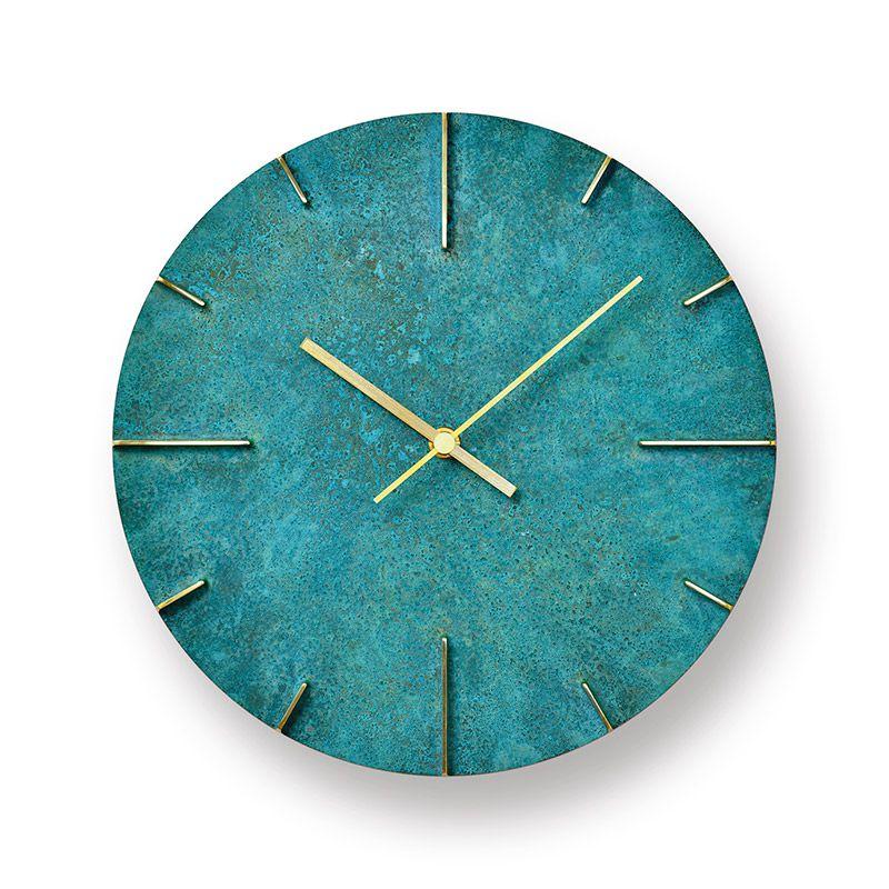 日本 Lemnos 復古銅蝕斑斕大壁鐘 (綠)