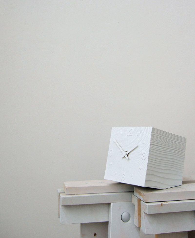 日本 Lemnos 方磚小型桌鐘 (白)1