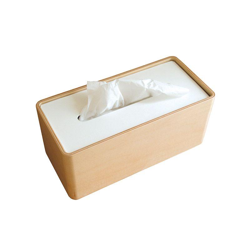 日本 Lemnos 木質面紙盒 (白)