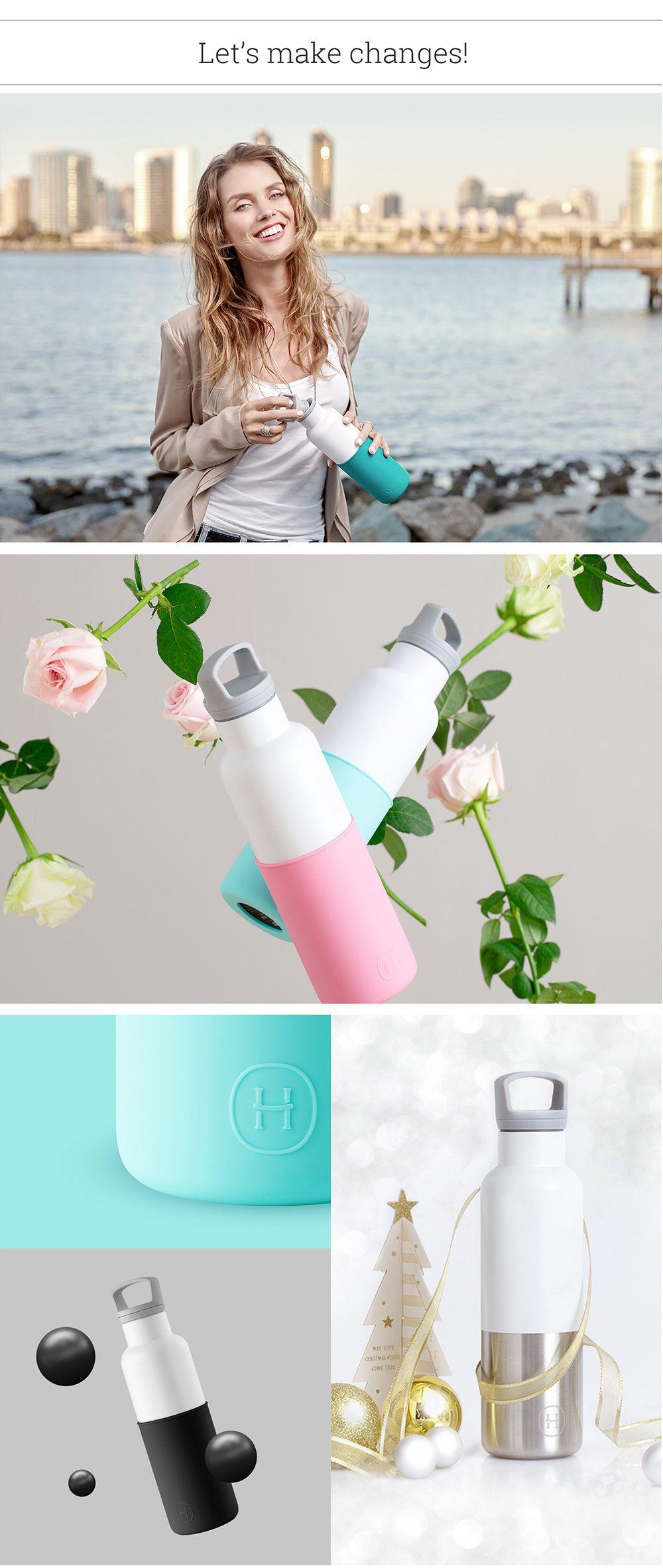 美國 HYDY 時尚不銹鋼保溫水瓶雙瓶組 白瓶北極藍+白瓶深青
