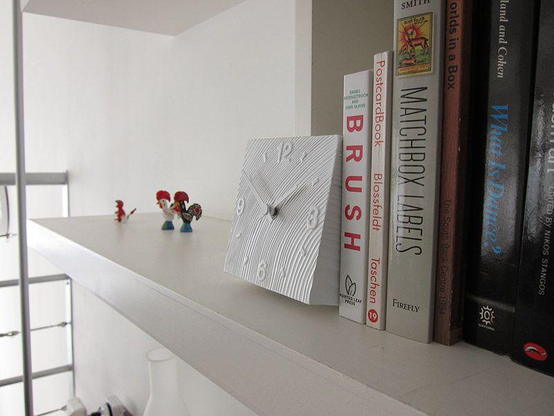 日本 Lemnos 方磚小型桌鐘 (白)3