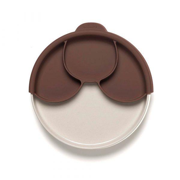 BONNSU_天然寶貝碗_兒童分隔餐盤組(深可可+牛奶麵包盤)