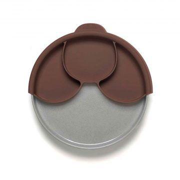 BONNSU_天然寶貝碗_兒童分隔餐盤組(深可可+芝麻麵包盤)