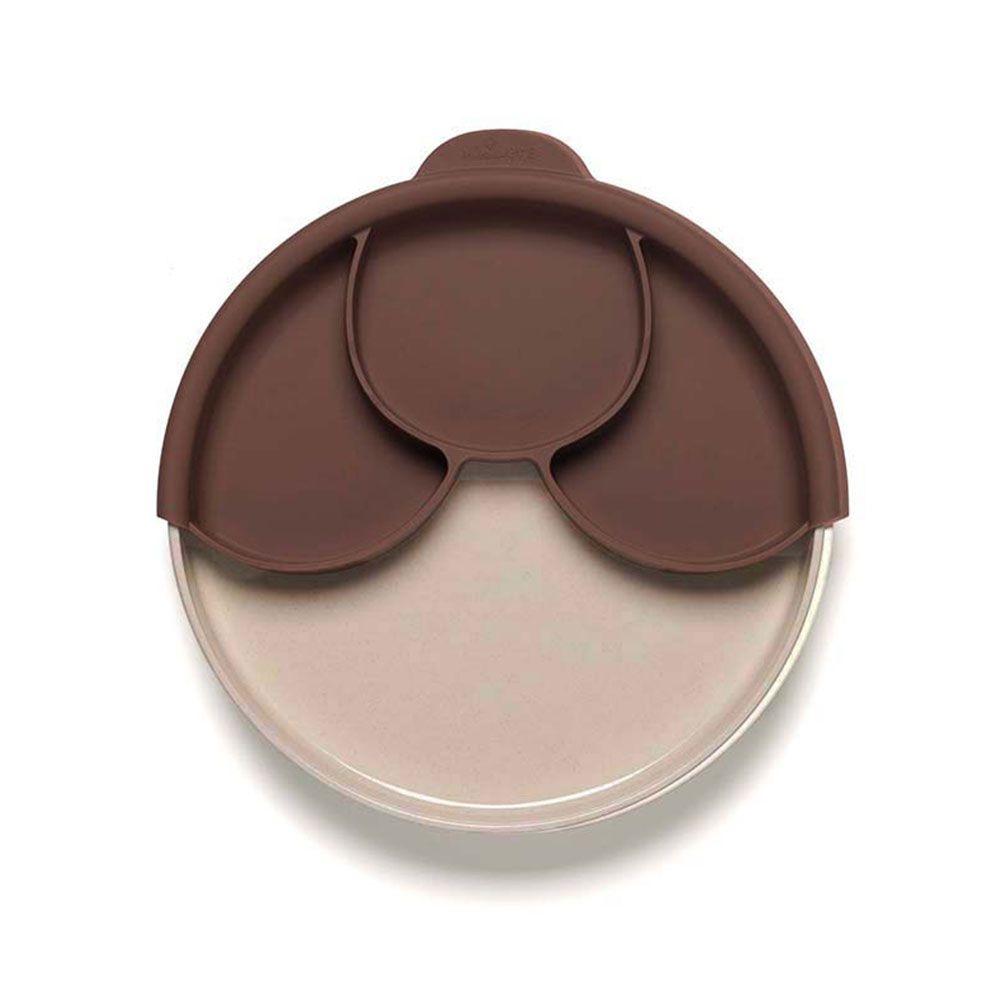 BONNSU_天然寶貝碗_兒童分隔餐盤組(深可可+鮭魚麵包盤)