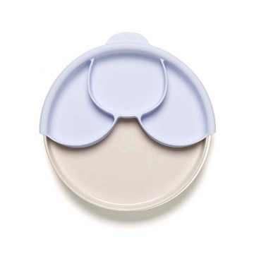 BONNSU_天然寶貝碗_兒童分隔餐盤組(淺薰衣草+牛奶麵包盤)