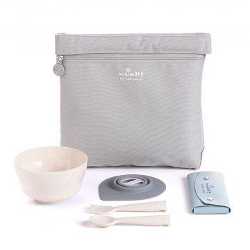 BONNSU_天然寶貝碗_旅行餐具组(灰袋米碗)