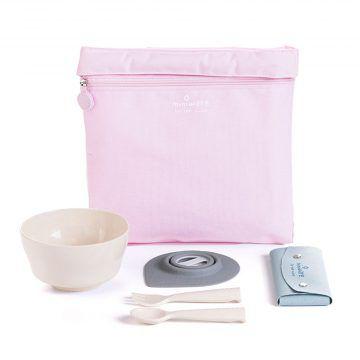 BONNSU_天然寶貝碗_旅行餐具组(粉袋米碗)