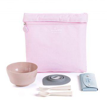 BONNSU_天然寶貝碗_旅行餐具组(粉袋粉碗)