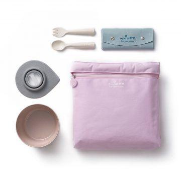 BONNSU_天然寶貝碗_旅行餐具组(粉袋粉碗)1