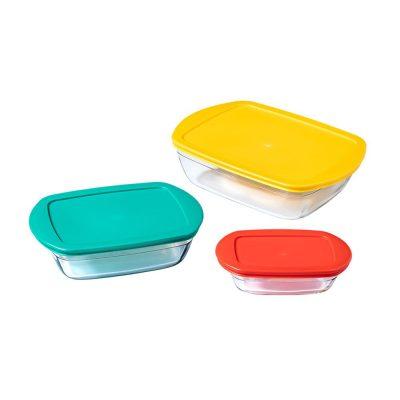 法國 O cuisine 耐熱玻璃繽紛方形保鮮盒 三入組