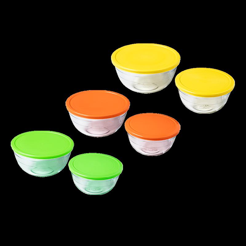 法國 O cuisine 耐熱玻璃繽紛圓形保鮮盒 六件組