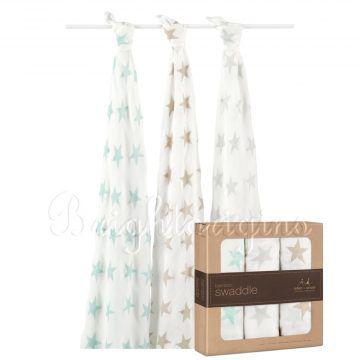 Aden+Anais 竹纖維毯子包巾(三入裝) 銀河星星系列9207