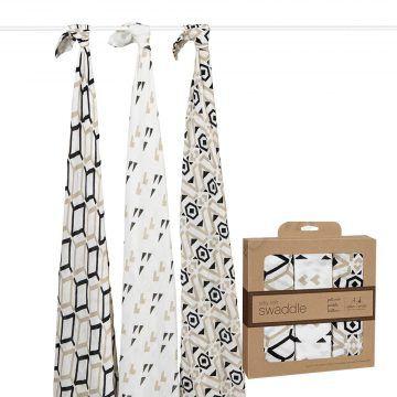 aden+anais-竹纖維包巾-咖啡幾何款-(三入裝)
