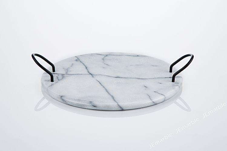 JEmarble 天然大理石 圓形端盤 (時尚黑手把)