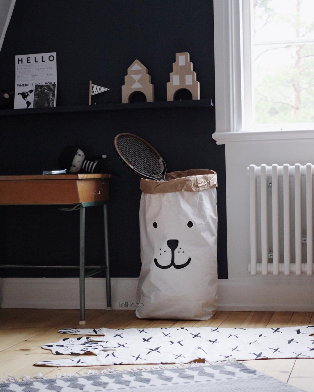 Tellkiddo 瑞典可愛圖案牛皮紙收納袋 小熊1