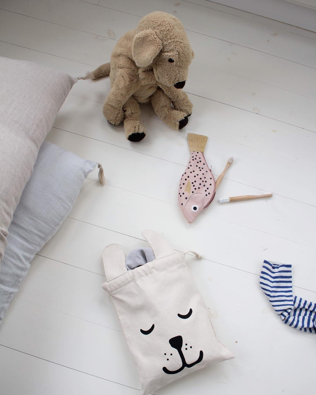 Tellkiddo 瑞典可愛圖案帆布收納袋 小兔兔4