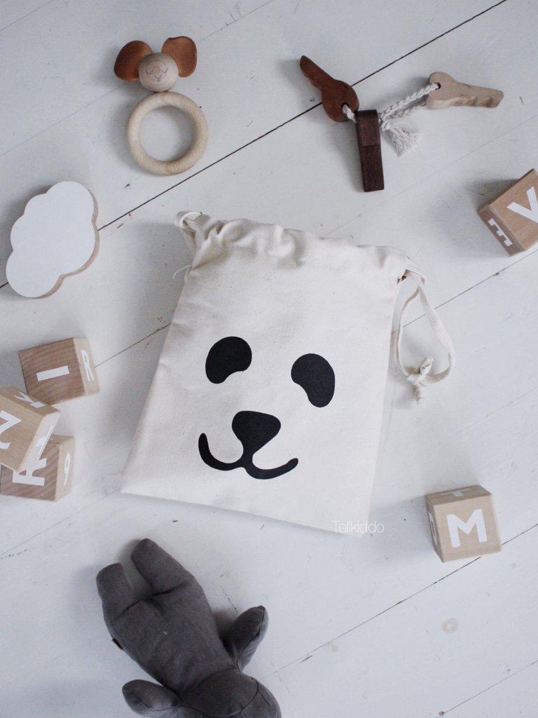 Tellkiddo 瑞典可愛圖案帆布收納袋 熊貓 (小)1