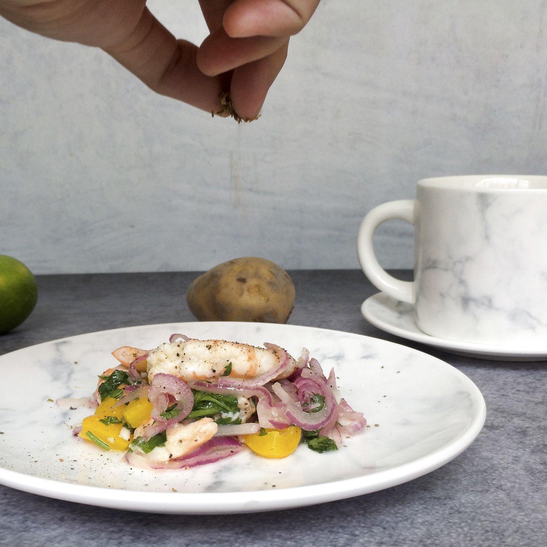 FMT我的菜 大理石紋瓷製 馬克杯盤組