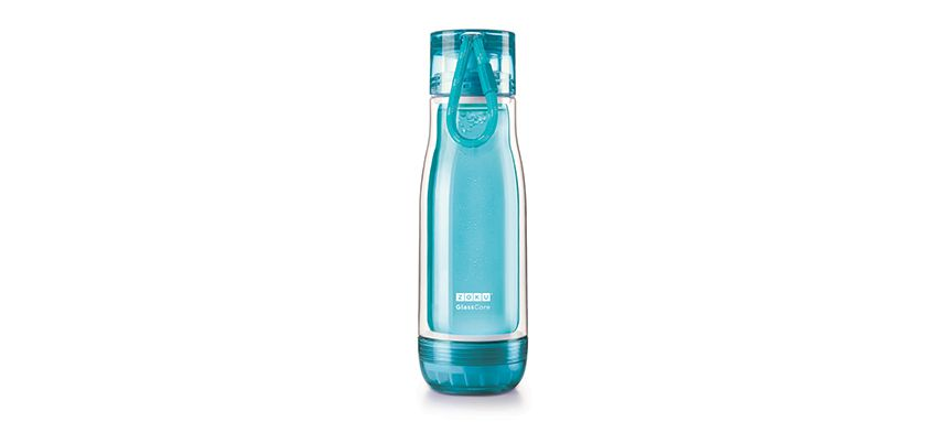 美國 ZOKU 繽紛玻璃雙層隨身瓶 475ml (淺藍)