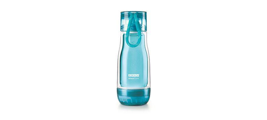 美國 ZOKU 繽紛玻璃雙層隨身瓶 355ml (淺藍)