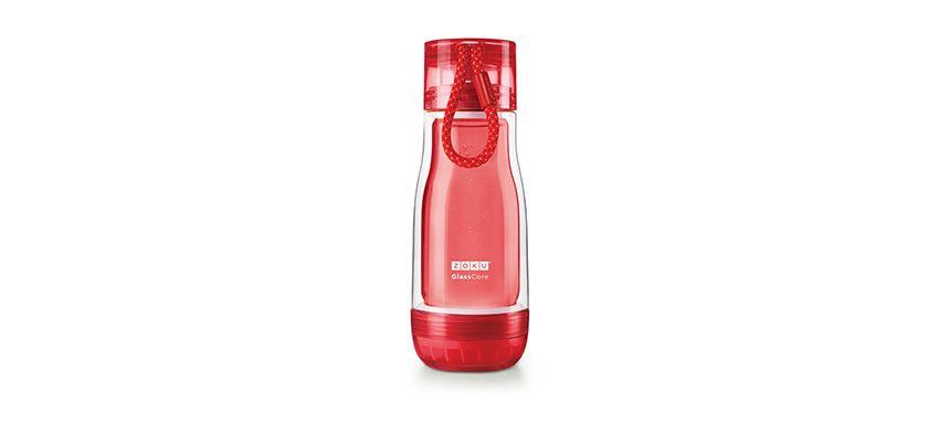 美國 ZOKU 繽紛玻璃雙層隨身瓶 355ml (紅)
