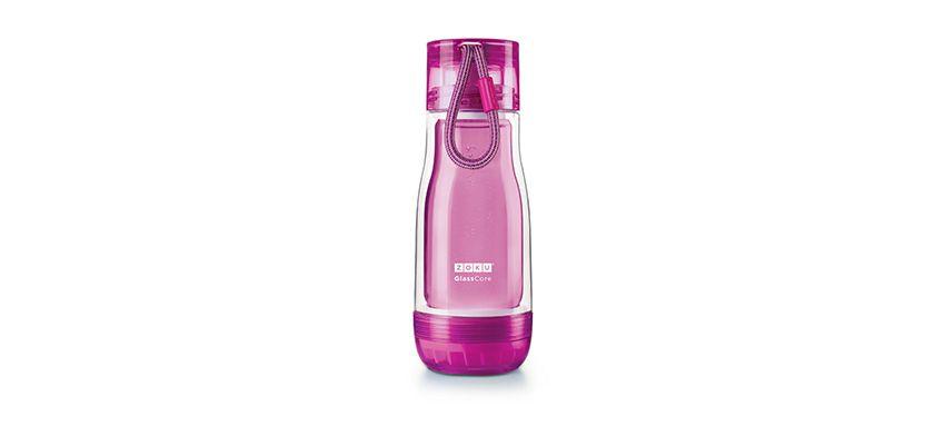 美國 ZOKU 繽紛玻璃雙層隨身瓶 355ml (紫)
